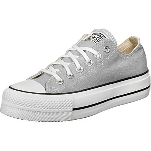 Converse Women's Seasonal Colour Platform Chuck Taylor All Star Low Top Wolf Grey/White/Black Womens 7