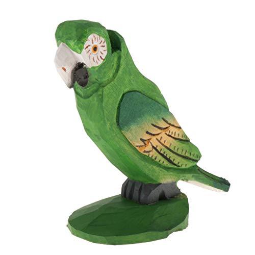 perfk Kreativer Brillenständer Holz Brillenhalter Multifunktionshalter für Sonnenbrillen, Lesebrillen, Halsketten, Uhren usw, Tierform - Papagei Grün