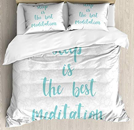 Nap Quote Duvet Cover Set King Size, Sleep is The Best Meditation Calligraphy with a Soft Mandala Motif Background, Decorative 3 Piece Bedding Set with 2 Pillow Shams, Seafoam Pearl