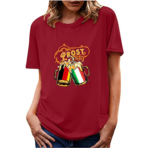 UEsent Camiseta de mujer verano Oktoberfest estampada, informal, camiseta de manga corta y cuello redondo, Vino, XXL