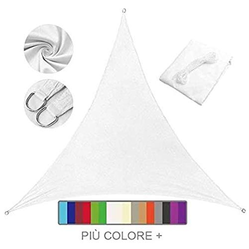 Shade Sails NEVY - Driehoek Anti-UV Zon Tuin Patio Zonwerend Waterbestendig PES Zonnescherm Luifel Met Gratis Touw 8 Kleuren En 9 Maten 5x5x7m Kleur: wit