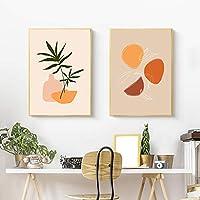 ファッションヴィンテージガール植物イラスト(ウォールアート)キャンバス絵画北欧のポスターとプリント壁のリビングルームの装飾(70x100cm)x2フレームなし