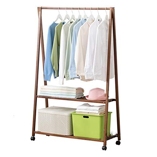 Perchero de Pie, Rack Stop Stand Bamboo Coat Rack Con 2 Estantes De Almacenamiento Para Pantalones De Vestir Zapatos Sombreros, Movable Roller Super Ensamblaje(Size:75*33*150cm,Color:marrón)