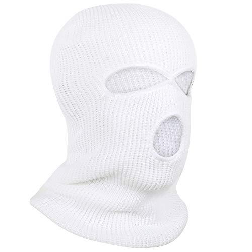 TRIXES Pasamontaña para Hombres - Pasamontaña de 3 Agujeros - Máscara térmica - Máscara para Invierno – Abrigo para Cuello - Pasamontaña máscara de esquí - Máscara Bally - Talla única - Color Blanco