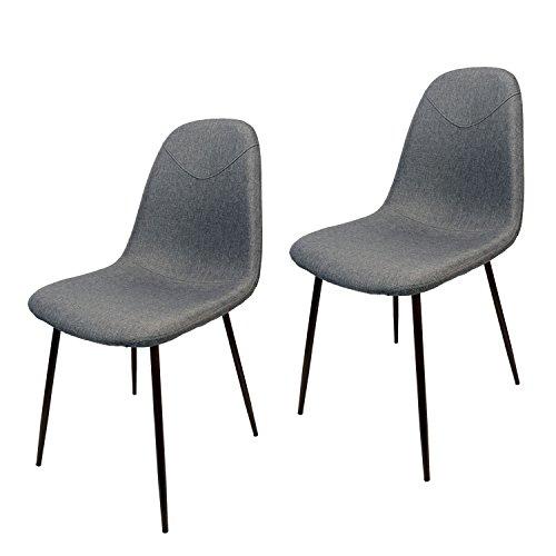 MIKU Schalenstuhl 2er-Set Bristol hellgrau Stuhl Sitzschale Esszimmerstuhl Lehnenstuhl (2 x Bristol hellgrau)
