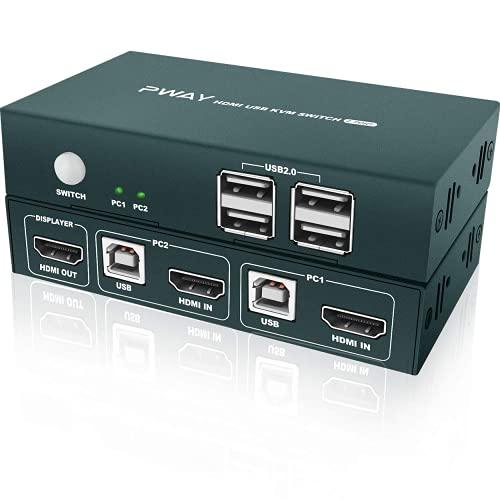 GHT KVM HDMI Switch USB 2 port, Commutateur KVM HDMI 4K@ 30Hz ,4 USB2.0, 2 In 1 Out,YUV 4: 4: 4, Ultra HD,Avec cable,Compatible avec Windows / Vista/ Linux/ UNIX/Ubuntu ,etc