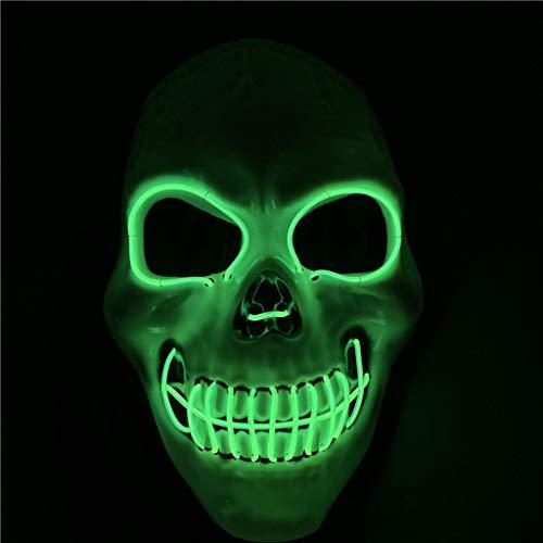 ZQH Halloween LED verlicht masker kostuum masker EL-draad gloeiend masker heren Unheiligen Death Schedel Cosplay Rave gezichtsmasker voor feestjes, carnaval, festivals