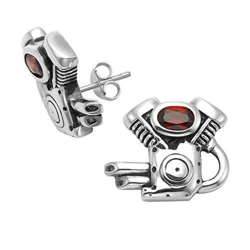 Sterling Silver Motor Cycle Engine Stud Earrings with Faceted Red Crystals