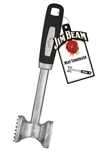 Jim Beam Stainless Steel Heavy Duty Construction Meat Tenderizer with Soft Grip Handle, Medium, Silver