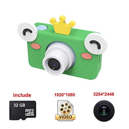 Fotocamera Digitale per Bambini, Disegno del fumetto Videocamera Portatile Video HD 1080P (3264x2448) Schermo da 2 Pollici da 8 Megapixel, inclusa Custodia Protettiva di Rana 32GB Micro SD Card