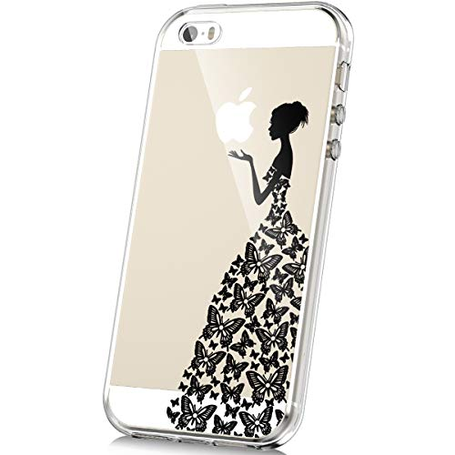 JAWSEU Funda iPhone 5S, Carcasa iPhone iPhone 5S/SE Carcasa TPU Silicona Transparente Protector Carcasa Crystal Claro Bumper Tapa Trasera Funda para iPhone 5S/SE-Chica de Mariposa