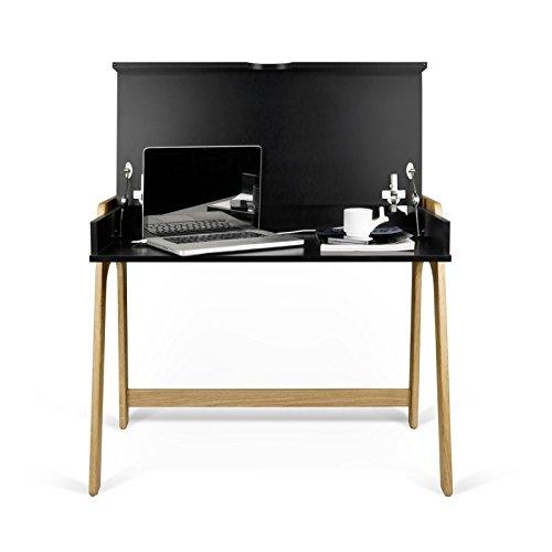 Paris Prix - Temahome - Bureau Aura 97cm Noir Mat & Chêne