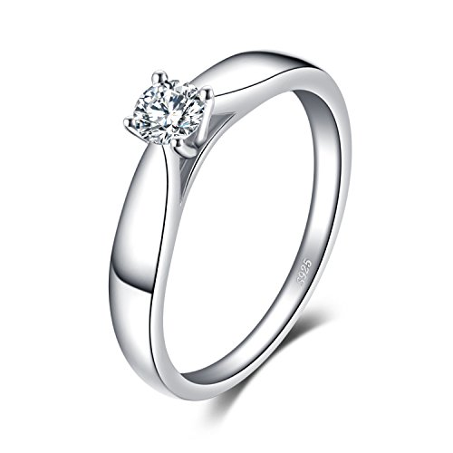 JewelryPalace Anillos Mujer Plata Diamante Simulado, Anillos de Compromiso Plata de ley 925 Mujer Chapado en Oro Blanco, CZ Anillo Mujer Alianzas Boda, Aniversario, Joyería Personalizada