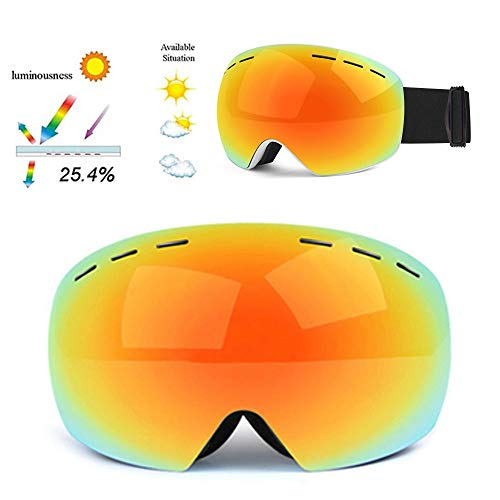 FGGTMO Gafas de esquí, Snowboard Esquí protección UV400 Gafas de Doble Lente con Anti Niebla Hombres, Mujeres, Compatible con Casco, for el Patinaje, Deporte al Aire Libre (Color : B)