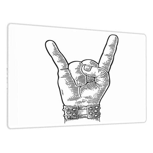 Alfombrilla Gaming Rock and Roll Hand Sign Pulsera con Pinchos de Metal Que le da al Diablo Gesto de Cuernos Base de Goma Antideslizante,Adecuada para Jugadores,PC y portátil-80x30cm