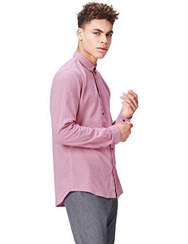 find. Camisa de Cuadros Ajustada para Hombre, Rosa (Hot Pink), XXL