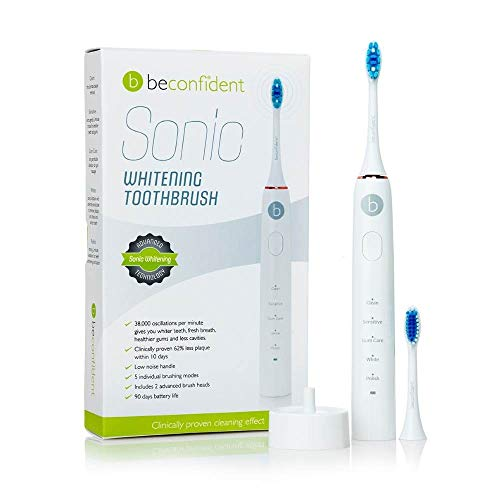 Beconfident Sonic Whitening Elektrische tandenborstel, witgoud, verwijdert bacteriën en tandsteen, verlicht de tanden, extra modus voor gevoelige tanden, glanzend, lange levensduur van de batterij