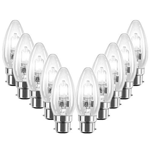10 Pack 28W BC B22 Clear Candle Light Bulbs, Bayonet Cap, Classic Incandescent Dimmable Lamps, 28W = 37W, 370 Lumen, Mains 240V, Energy Saving Halogen Bulbs