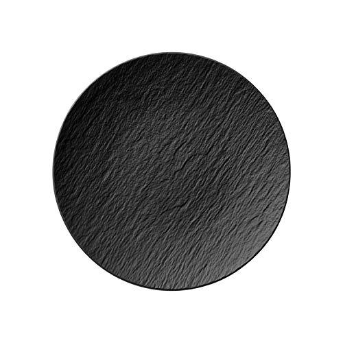 Villeroy und Boch - Manufacture Rock Universalteller Coupe, 25 cm, Premium Porzellan, spülmaschinen-, mikrowellengeeignet, schwarz