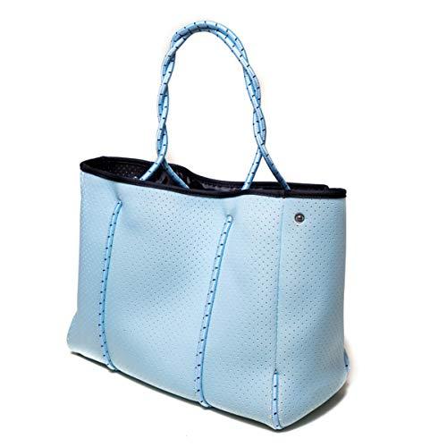 Speo Bag Tasche Damen groß 50×30 cm – Damentasche Shopper Umhängetasche aus Neopren – Tasche vegan auch perfekt als Sporttasche in Blau Babyblau