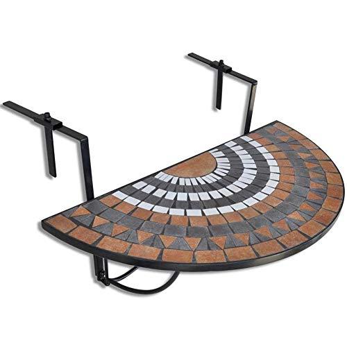 Wakects Gartentisch Balkon klappbar aus Mosaik leicht zu falten Balkontisch hängend Halbrundig Terrakotta Balkontisch faltbar kann auf einer Terrasse oder einem Balkon montiert werden