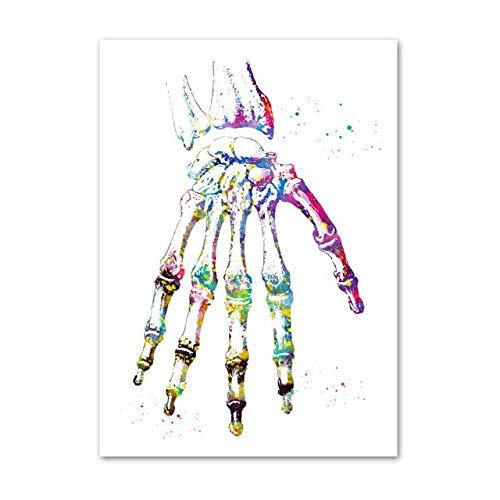 WIOIW Abstracto Colorido Salpicaduras de Tinta Mano Humana Palma Esqueleto anatomía Lienzo Pintura Pared Arte Cartel Impresiones clínica educación médica médico Oficina decoración del hogar