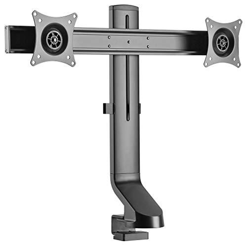 RICOO Dual PC Monitor-Halterung 2 Monitore Neigbar (TS3811) Bildschirm-Aufhängung Universal für 17-27 Zoll (bis 7-Kg, VESA 100x100) Büro Schreibtisch Doppel-Tisch-Ständer Höhenverstellbar