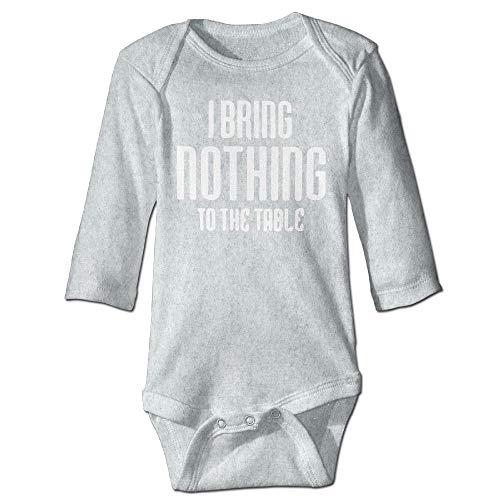 Body de manga larga para beb, unisex, para recin nacido, con texto en ingls I bring Nothing to the Table Babysuit de manga larga para nias