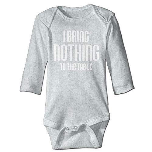 Body de manga larga para beb, unisex, para recin nacido, con texto en ingls I bring Nothing to the Table Babysuit de manga larga para nias