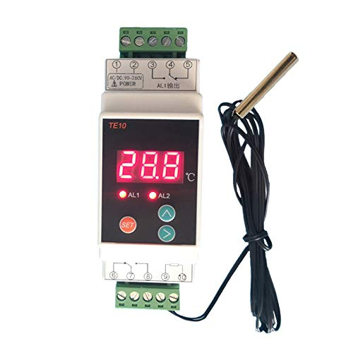 SHOTAY AC90~260V -40~110 ℃ Termostato de riel DIN con Sensor Controlador de Alarma de Temperatura de Salida de relé de 2 vías Salida común NO NC 7A / 250VAC