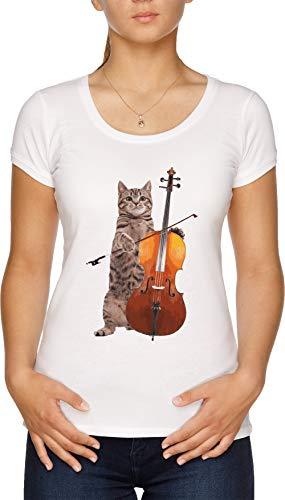 Violonchelo Gato - Meowsicians Camiseta Mujer Blanco