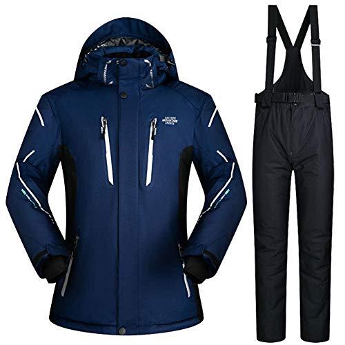circulor Skianzug, Ski Skihose Skikleidung Winddichter, Wasserdichter Warmer Herren-Skianzug Aus Baumwollfaser - Schwarz