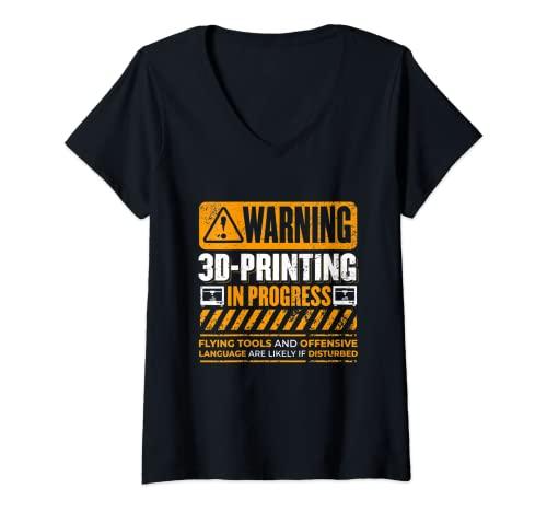 Mujer Impresora 3D de advertencia vintage en curso Nerdy 3D Camiseta Cuello V