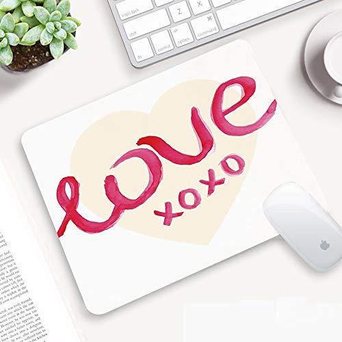 Alfombrilla Ratón 320x250 mm,Xo Decor, tipografía de amor en figura de corazón con besos, símbolo, le,Antideslizante e Alfombrilla goma Impermeable Ideal para Portátil, Teclado, Gaming Hogar y Oficina