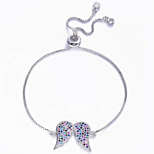 chushi Gorgeous Multi-zircon Angel Wings Bracelet Rose Gold Color Frame Chain Bracelet Suitable For Female Adjustable Jewelry Zzib (Color : Silver)