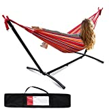 Hammock with Heavy Duty Steel Stand, Double Hammock, Portable Hammock with Carrying Case for Yards, Beaches, Parks, Balconies, Red
