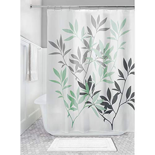 Price comparison product image iDesign Leaves Shower Curtain,  Polyester Bathroom Curtain With Leaf Motif,  Grey / Mint