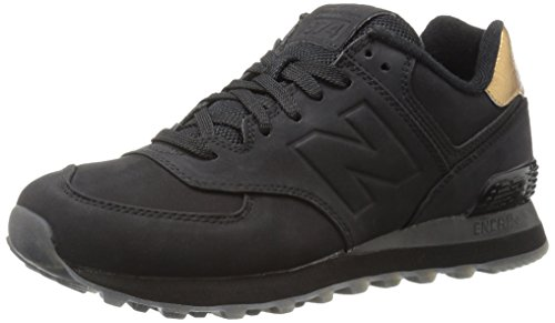 New Balance Damen 574 Sneakers, Rot (Black/Gold), 36 EU