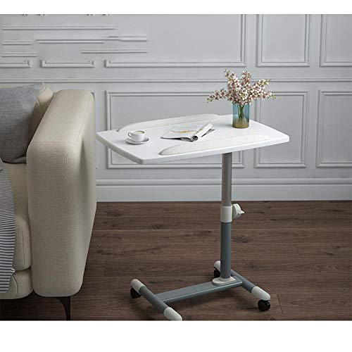 CHOUE Iron Space Saver Table with White Pvc Panel,Adjustable Height, Lockable Casters, Foldable,Desks For Study for Computer Stand Desk