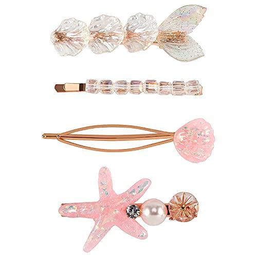 Hair Barrettes Clips for Women Girls 4 pcs Cute Multi Design Starfish Fish Tail Shell Hair Clip Pins Stylish Fashion Party Wedding Accessories