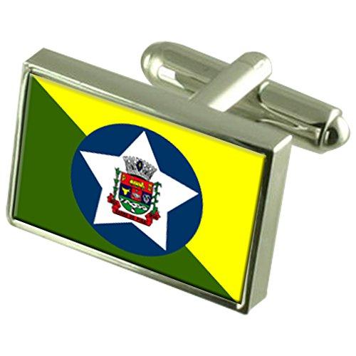 Select Gifts Barra do Pirai Stadt Rio de Janeiro State Flag Sterling Silber Manschettenknöpfe graviert Box
