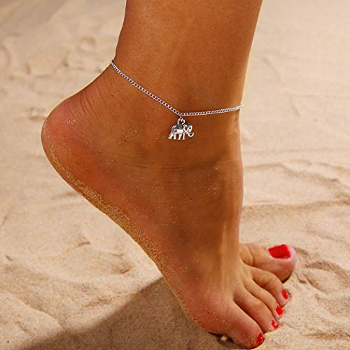 Handcess Boho Fußkettchen Silber Elefant Fußkettchen Armbänder Strand Fußkette Schmuck für Frauen und Mädchen