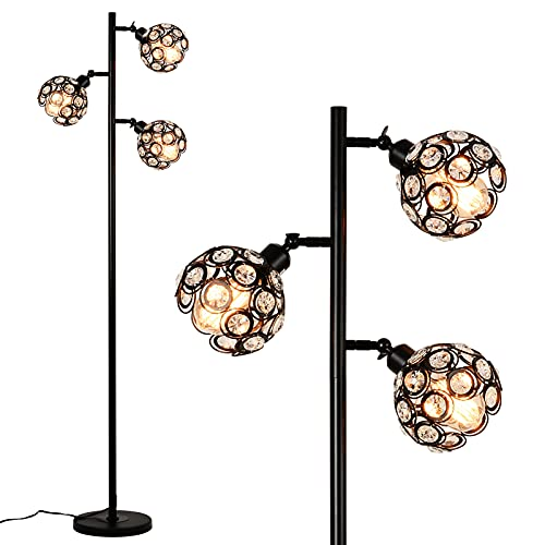 Rayofly Crystal Floor Lamp,3-Light Adjustable Sofa Reading Light Bedroom Living Room Tall Tree Lamp with Step-on Switch