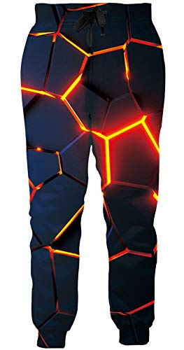 Loveternal Hose Herren Geometrisch Jogginghose 3D Druck Geometric Sweatpants Sport Hosen Casual Baggy Jogginghose L
