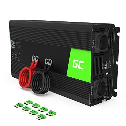 Green Cell® 1500W/3000W 24V a 220V/230V Onda sinusoidal Pura Inversor de Corriente DC AC Power Inverter Transformador de Voltaje para Coche Camion con Puerto USB y Pinzas de conexión a batería