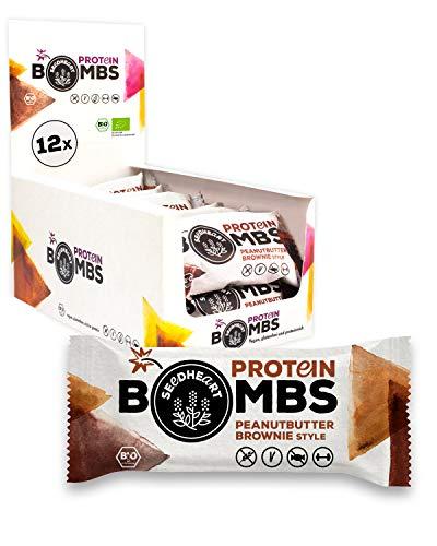 PROTEIN BOMBS Peanut Butter Brownie 12x50g | Proteinreiche Bio-Balls ohne Zuckerzusatz | Die glutenfreie, vegane Alternative zum Proteinriegel! 💪💚