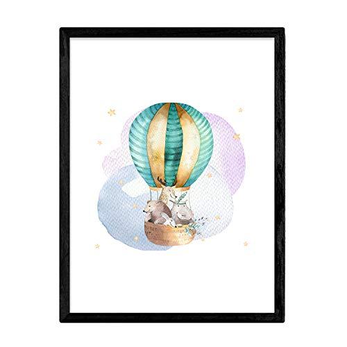 Poster met illustratie van het dier. Laken met dierenfoto's voor kinderen. Wereldbol met vrienden. A3-formaat zonder lijst