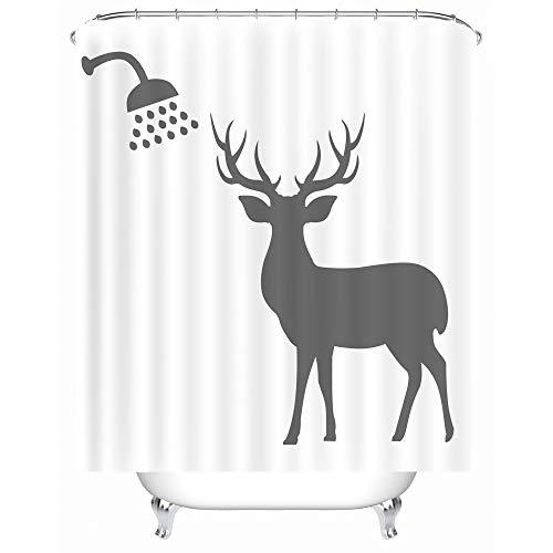 X-Labor Lustig Tier Schatten Duschvorhang 240x200cm Wasserdicht Anti-Schimmel Polyester Textil Stoff Badewannevorhang Shower Curtain Reh 180x200cm