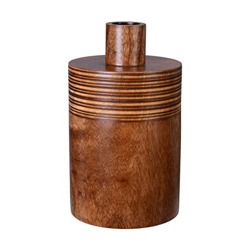 """Villacera Handmade 10"""" Mango Brown Decorative Jar with Lid 