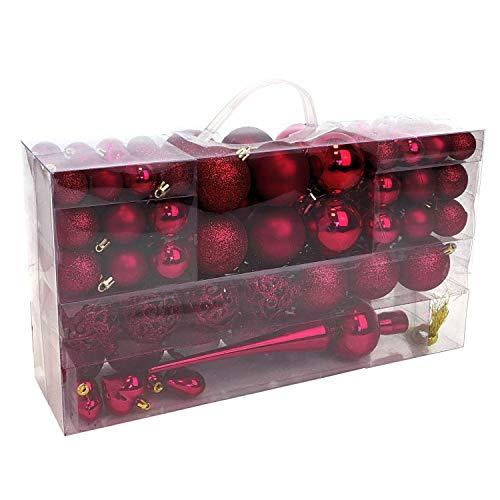 Wohaga® Set de 105 Bolas de Navidad Ø3/4/6cm plástico Adornos del árbol de Navidad decoración navideña...
